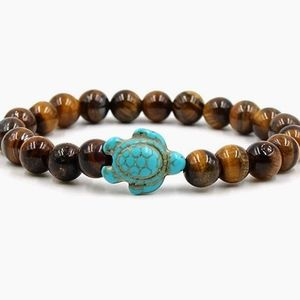 New Sea Turtle Tigers Eye Chakra Healing Bracelet